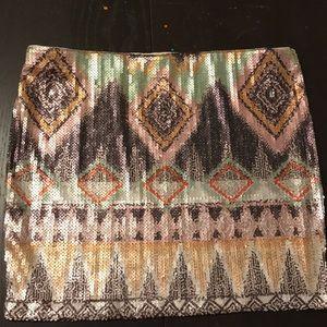 Tribal Pattern Sequin Skirt .
